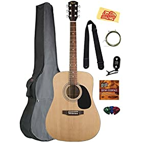 Fender Squier Acoustic Guitar Bundle with Gig Bag, Clip-On Tuner, Extra Strings, Strap, Picks, Austin Bazaar Instructional DVD, and Polishing Cloth - Natural 3