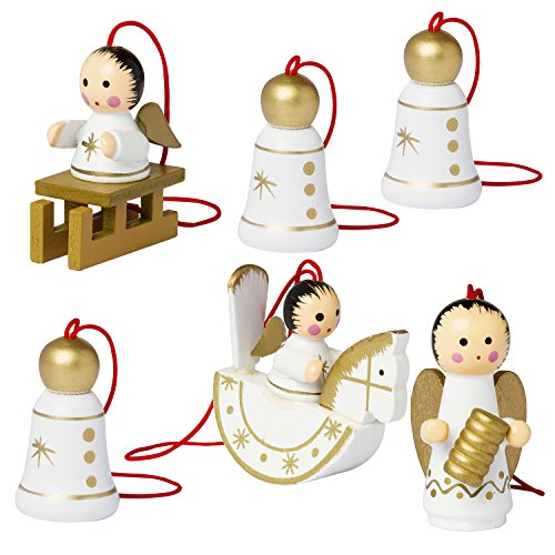 brubaker 6 handpainted wooden christmas tree ornaments decoration christmas guardian angel set designed in germany