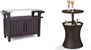 Keter Unity XL Portable Outdoor Table and Storage Cabinet with Hooks for Grill Accessories-Stainless Steel Top & Pacific Cool Bar Outdoor Patio Furniture and Hot Tub Side Table, Espresso Brown