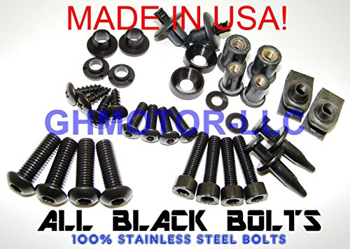 2003 2004 2005 2006 2007 2008 2009 SV650 SV1000 Complete Fairings Bolts Screws Fasteners Kit Set Made in USA Black