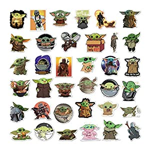 ZFHH 72PCS /PACK Baby Yoda Planet Wars The Mandalorian Stickers for Laptop Skateboard Home Decoration Car Craft Supplies