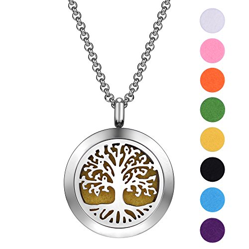 Cyber Monday SALE-Aromatherapy Essential Oil Diffuser Necklace-Lifetime Stainless Steel Locket Jewelry with Adjustable Chain and 8 Refill Pads