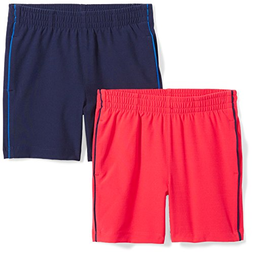 - Spotted Zebra Little Boys' 2-Pack Active Woven Shorts, Red/Navy, X-Small (4-5)