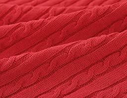 CLEARANCE! CottonTex Cotton Knitted Cable Throw Soft Warm Cover Blanket Cable Knitting Pattern, 43x70 Inches, Red