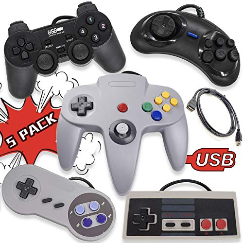 5 USB Classic Controllers for PC Windows Computer RetroPie Raspberry Pi HyperSpin and More Emulators, Resembles Nintendo (NES) Super Nintendo (SNES) Sega Genesis Nintendo 64 (N64) Playstation 2 (PS2) (Best Nintendo 64 Emulator For Pc)