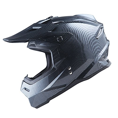 1Storm Adult Motocross Helmet BMX MX ATV Dirt Bike Helmet Racing Style HF801; Carbon Fiber Black by 1Storm