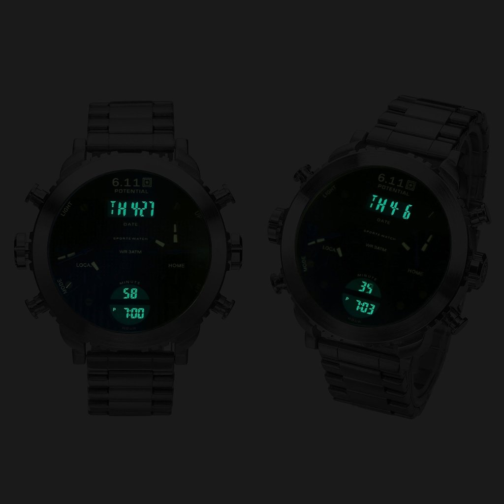 Top Plaza Men\'s Digital Electronic Stainless Steel Band Waterproof LCD Sport Watch Casual Quartz Military Multifunction Back Light 30M Water Resistant Calendar Month Date Day-Blue