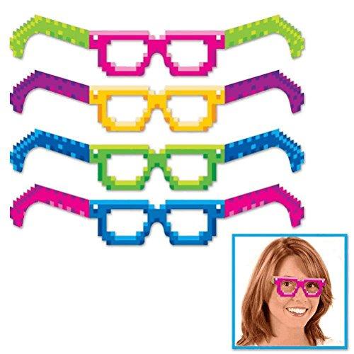 Beistle 8-Bit Eyeglasses, Multicolor