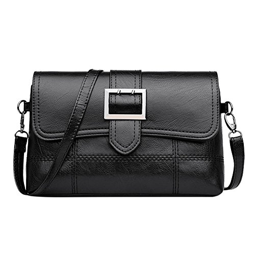 Women Handbag Leather Shoulder PU Casual Everpert Bag Black Flap Messenger Pure Bag Zq4Tw7