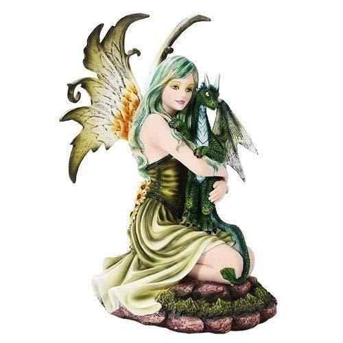 Figurine Green Earth Fairy with Baby Dragon Guardian Statue Magic Fantasy Decor ()