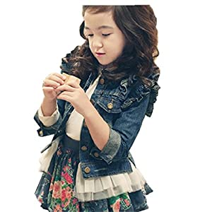 Girl blue denim coat Outwear Denim Jacket Kids Lace Cowboy Jacket Dresses