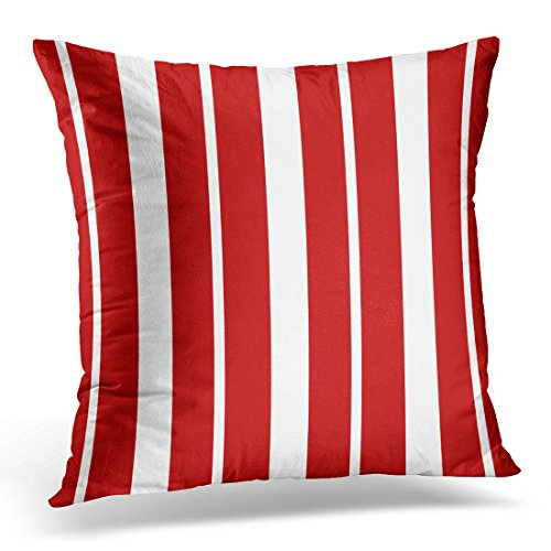TORASS Throw Pillow Cover Navy Sailing Nautical Red and White Striped Blue Nantucket Decorative Pillow Case Home Decor Square 16 x 16 Inch Pillowcase