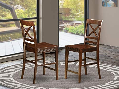 Quincy Counter Height Stools With X-Back in Black Cherry Finish