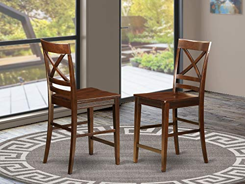 Quincy Counter Height Stools With X-Back in Mahogany Finish
