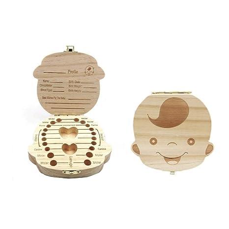 JZK® Imagen madera personalizado bebé dientes deciduous souvenir caja, Caja de dientes de leche