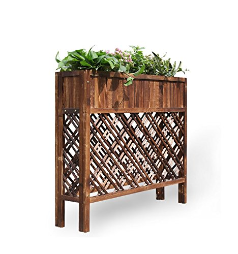 Anti-corrosion wood grid flower box, outdoor partition flower rack, carbonized solid wood flower frame, (100 90 25cm) by Flower racks