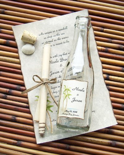 Message Bottle Wedding Invitations - Message In A Bottle ® Signature Glass Wedding Invitation Sample - Paradise