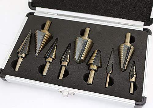 Moon Daughter 9PC HSS SAE 93 Step Drill Bit Tri Flat 1//4 Shank Dual Flute w//Aluminum Carrying Case