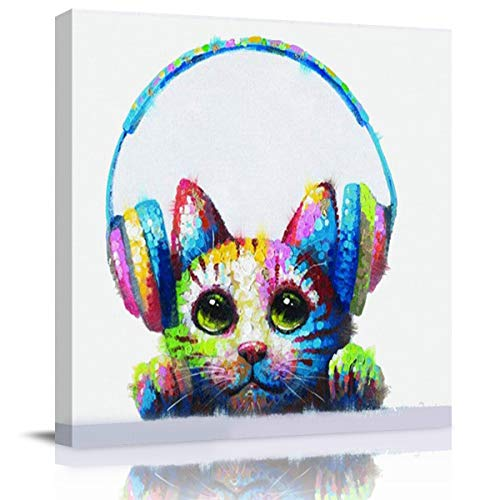 Crystal Emotion Cat with Headphones Canvas Square Wall Art Oil Painting Hand-Painted 12 inch Morden Artwork Prints Picture Paintings for Home/Living Room Decor Gift Framed Ready to Hang