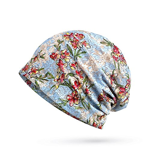 Glamorstar Floral Lace Beanie Hat Chemo Cap Stretch Slouchy Turban Headwear Flowers Sky -