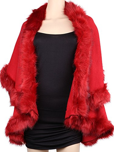 Womens Faux Fur Cape Coats Dress Plus Size (Wine Red) by Winfunup (Image #1)