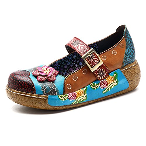 socofy Wedges Sandals, Women's Colorful Flower Vintage Slip-on Leather Shoes Platform Sandal Dark Blue #3 9 B(M) US