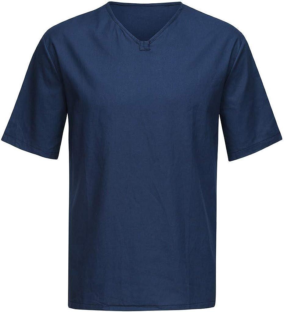 iLPM5 Herren Sommer Freizeithemd Euro-Amerikanischer V-Ausschnitt SOID Baggy Baumwolle Leinen Top Kurzarm Retro Lose Schlank Atmungsaktiv Bequemes T-Shirt Fasion Simple Wild Bluse