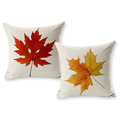 Autumn Leaves Pillow - TOOL GADGET Autumn Leaves Decoration Pillow Covers Fall Maple Leaf Decorative Throw Pillow Cases, 2 Packs Cotton Linen Houseware,18x18