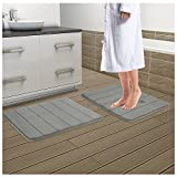 Drhob 2Pcs Gray 17''x 24'' Non Slip Coral Velvet Bathmat Absorbent Bath Rugs Memory Foam Bath Mats with Anti-Skid Bottom