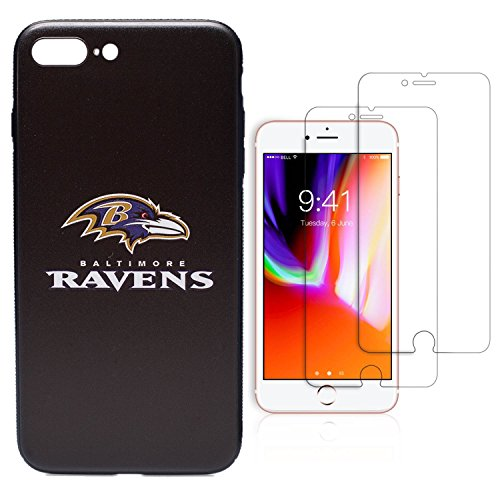 iPhone 8 Plus case, iPhone 7 Plus case, NFL Team Theme, TPU/PC Dual Protection, Give 2 Tempered Glass Screen Protectors Extra Value Set (Baltimore (Baltimore Ravens Case)