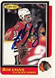 Bob Sauve Chicago Black Hawks Signed 1986-1987 OPC Card # 124 SL COA 18198