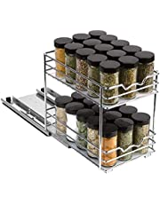 """Spice Rack Organizer for Cabinet - Pull Out Double Tier Spice Rack 6-3/8""""W x 10-3/8""""D x 8-7/8 for Upper Kitchen Cabinets and Pantry Closets, For Spices, Sauces, Canned Food etc. 6"""" Between Shelves"""