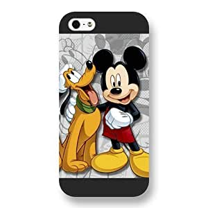 Customized Black Frosted Disney Cartoon Micky Mouse & Pluto Dog iPhone 5 5s case