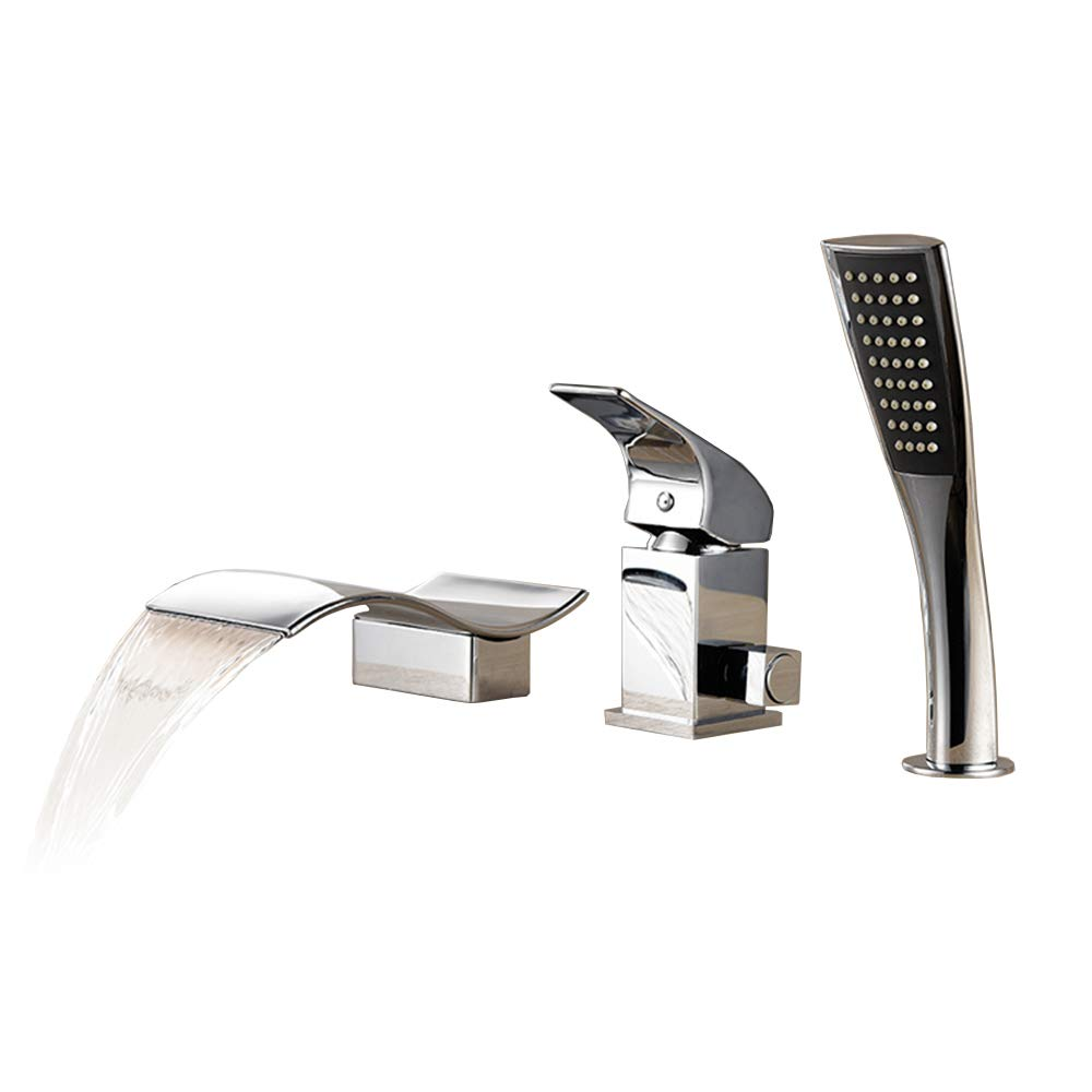 3 Hole Bathtub Faucet Single Handle Deck Mount Waterfall Bathroom Sink Faucet With Hand Shower Brass Chrome Finish Cold Hot Mixer Tap