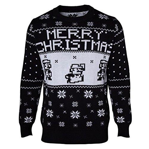 Offiziell lizenzierte Unisex Super Mario Bros. schwarz gestrickte Weihnachtspullover | S-XXL