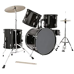 LAGRIMA Black Full Size 5 Piece Complete Adult Drum Set from LAGRIMA