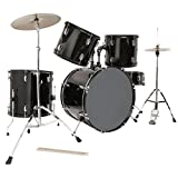 LAGRIMA 5 Piece Full Size Drum Set for Adult Beginner with Stand, Cymbals, Hi-Hat, Pedal, Adjustable Drum Stool and 2 Drum Sticks, Black, 22 Inches