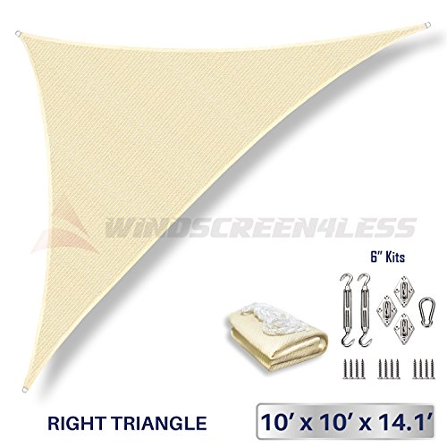 Windscreen4less 10' x 10' x 14' Right Triangle Sun Shade Sail with 6 inch Hardware Kit - Beige Durable UV Shelter Canopy for Patio Outdoor Backyard - Custom