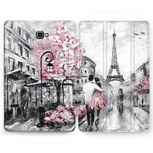 Wonder Wild Paris Love Samsung Galaxy Tab S4 S2 S3 A E Smart Stand Case 2015 2016 2017 2018 Tablet Cover 8 9.6 9.7 10 10.1 10.5 Inch Clear Design World Print France Traveler Couple Eiffel Tower Art -