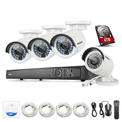 ANNKE 6.0MP 8Ch Network NVR Security System with4x 4.0MP POE Outdoor Bullet IP Cameras, 100ft Night Vision, One 4TB HDD Included by ANNKE