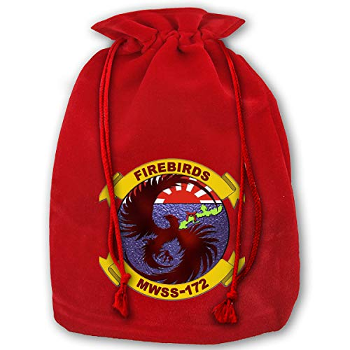 NYSOUVENIRS Bag Marine Wing Support Squadron 172 Merry Christmas Drawstring Beam Port Canvas Storage Bag Gift Bag Hometom Christmas