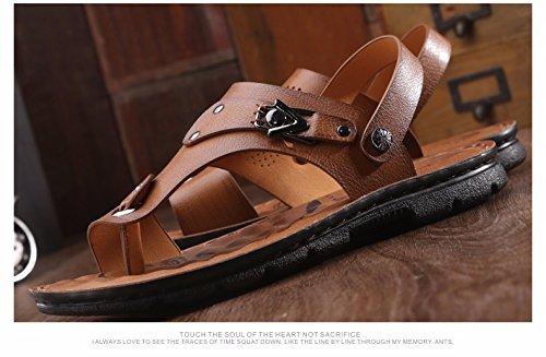Estate uomini sandali spiaggia scarpa uomini gioventù Soft bottom non-slip tempo libero dual use sandali scarpa uomini marea scarpe, Khaki1, UK = 7, EU = 40 2/3