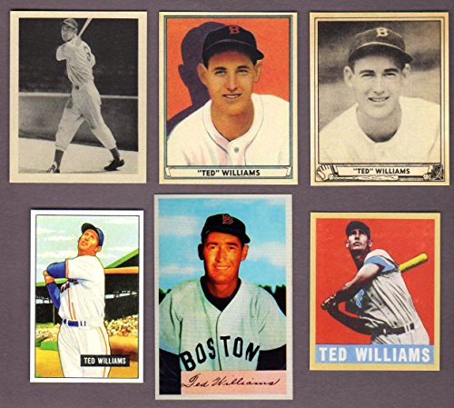 Ted Williams (6) Card Baseball Reprint Lot #2 including 1939 Play Ball Rookie Card (Boston Red Sox) (Williams Rookie Card)