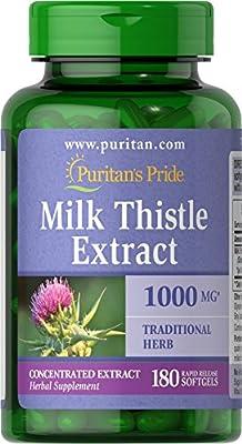 Puritan's Pride Milk Thistle 4:1 Extract 1000 mg (Silymarin)-180 Softgels