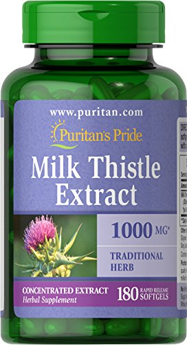 Puritan's Pride Milk Thistle (Silymarin) 4:1 Extract 1000 mg, Pills for Liver and Overall Health Support, 180 Rapid Release Softgels