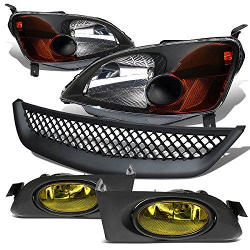 For Honda Civic Headlight (Black)+Bumper Fog Light (Amber Lens)+Grille - 7th Generation ES EM D17