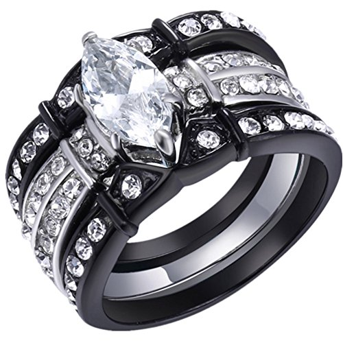 MABELLA Black Wedding Band Engagement Ring Set Stainless Steel Marquise Cubic Zirconia for Women Size 5-11