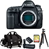 Canon EOS 5D Mark IV 30.4MP Full Frame CMOS DSLR Camera Bundle with Gadget Bag, Battery Grip, Lithium-Ion Battery Pack, 64GB Extreme SD Memory UHS-I Card and Aluminum Travel Tripod