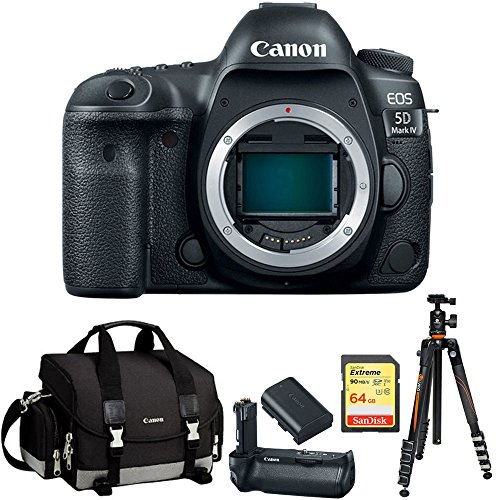 Canon EOS 5D Mark IV 30.4MP Full Frame CMOS DSLR Camera Bundle with Gadget Bag, Battery Grip, Lithium-Ion Battery Pack, 64GB Extreme SD Memory UHS-I Card and Aluminum Travel Tripod by Canon