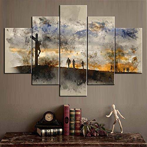 Pictures for Living Room Easter Gifts Artwork for Walls Canvas People Walking up Hill Towards Jesus Pictures Modern Artwork Painting 5 Piece Wall Art Home Decor,Framed Ready to Hang(60''Wx40''H)